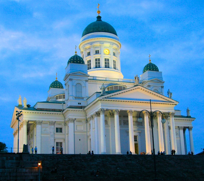 Sun Setting on Helsinki Cathedral