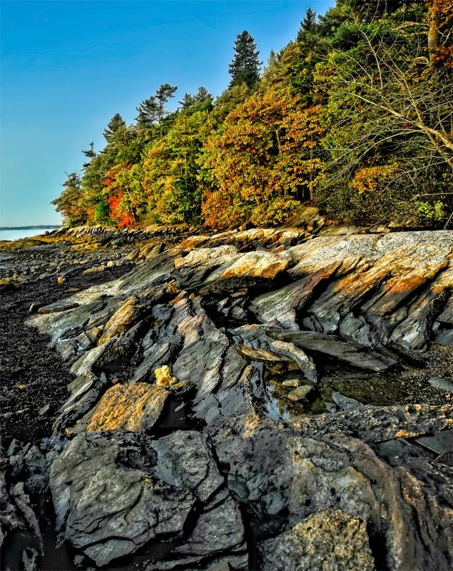 Maine rocky shore in Autumn