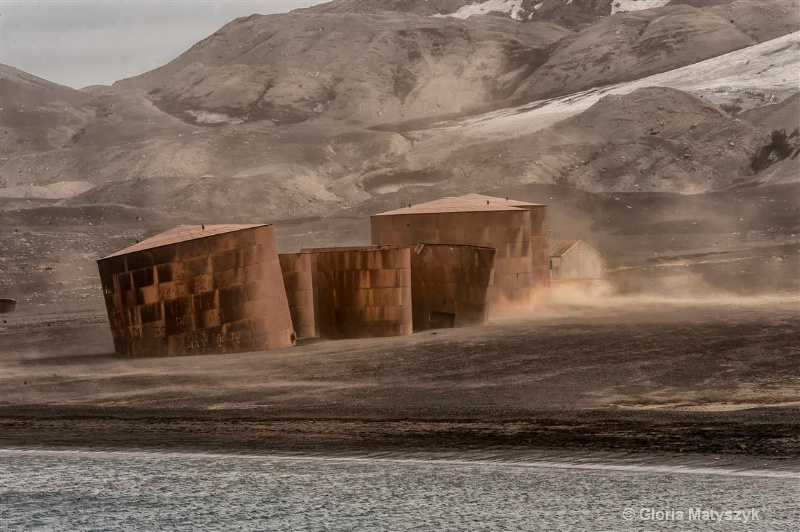 Whaling port & rusted storage tanks,Antarctica