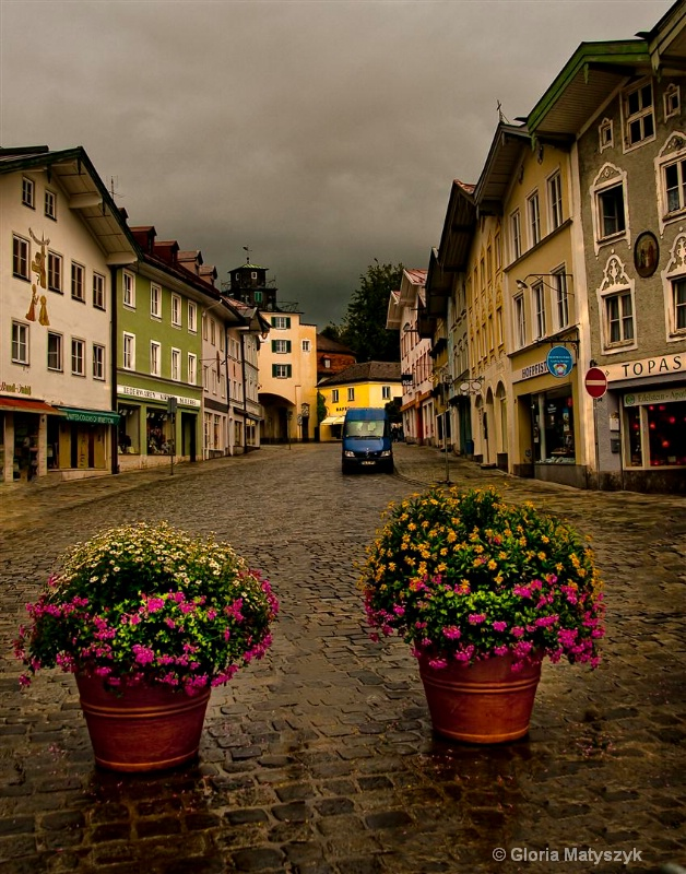 Bad Tolz, Germany in the rain