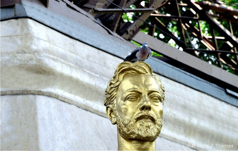 Pigeon atop Gustave Eiffel's Head, Paris !