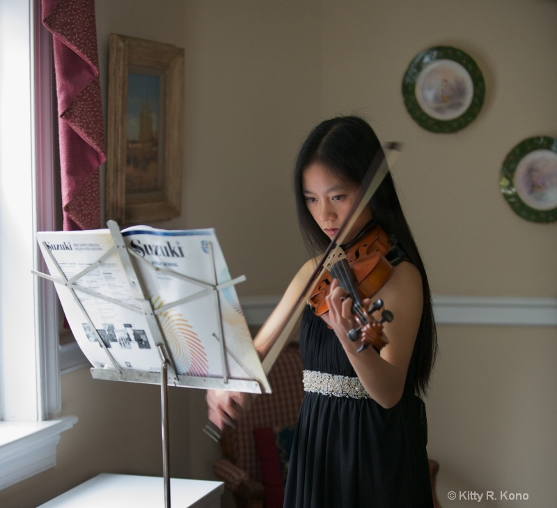 Yumiko Practicing for Violin Recital