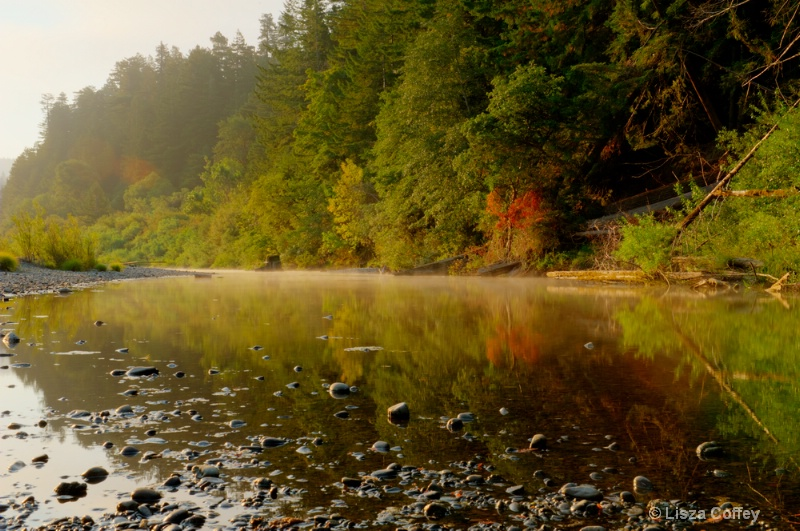 Misty fall morning on Eel River