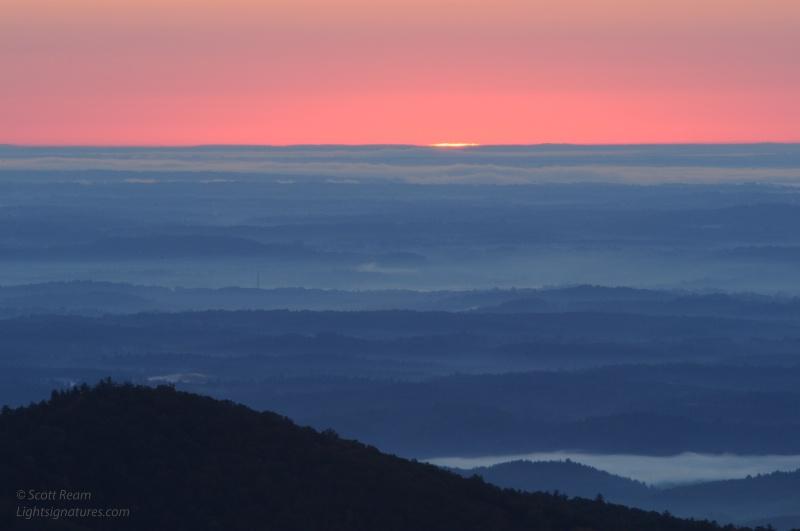 blue ridge sunrise moment - wiseman s view  pisgah