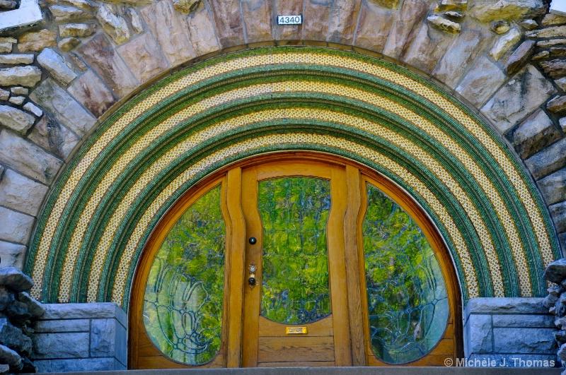 Door at  K.C. Art Inst. w/ Garden Reflection