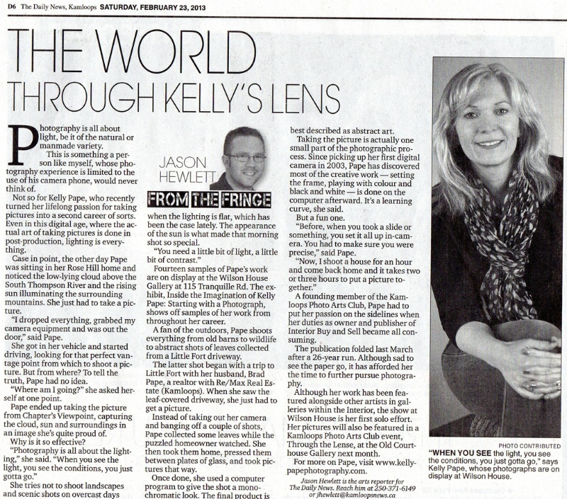 Article in the Kamloops Daily News