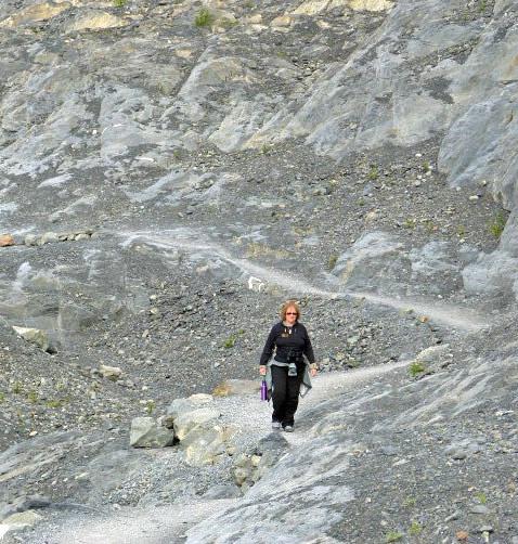 Joan walking back from Glacier