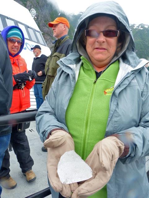Joan holding iceberg