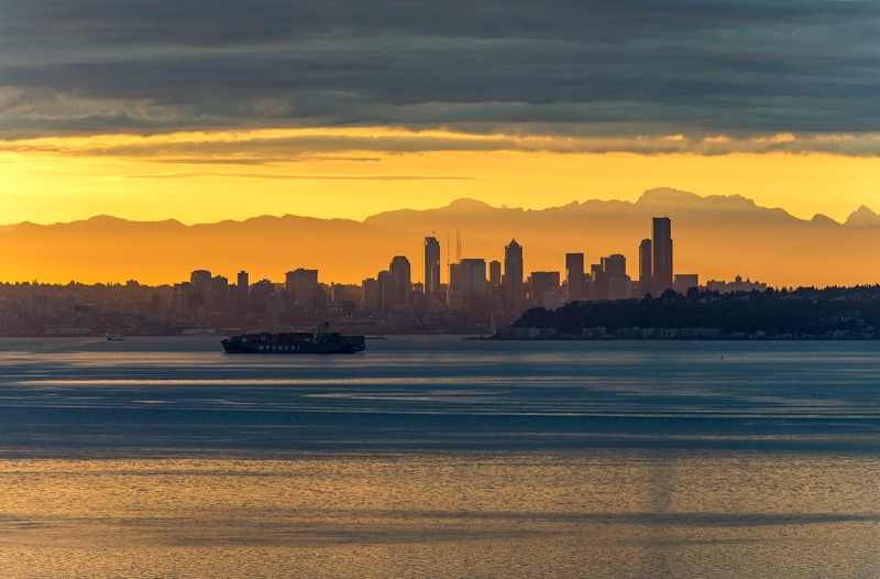 Seattle Skyline At Sunrise