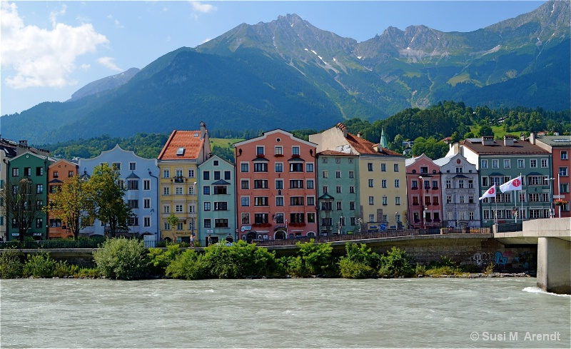 Colorful Houses along the River Inn