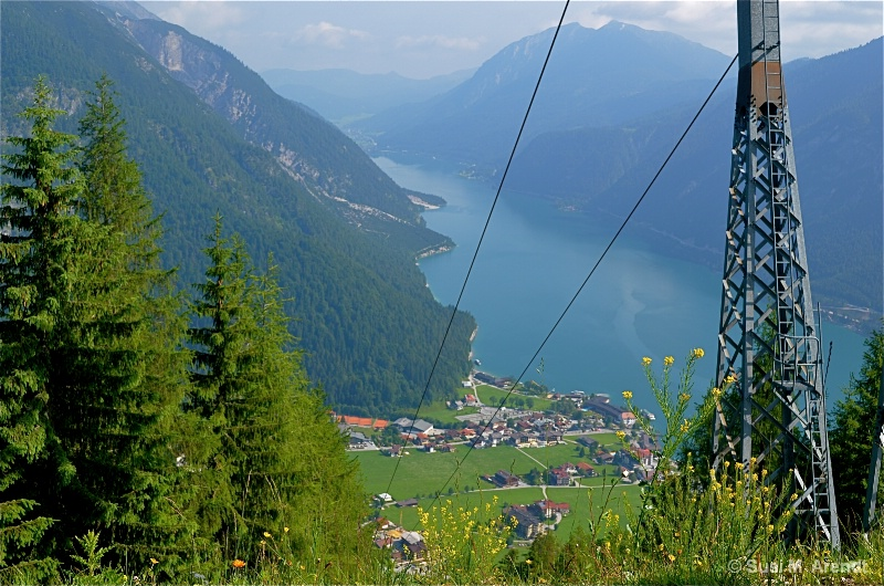 View from Karwendel to Pertisau on Lake Achen