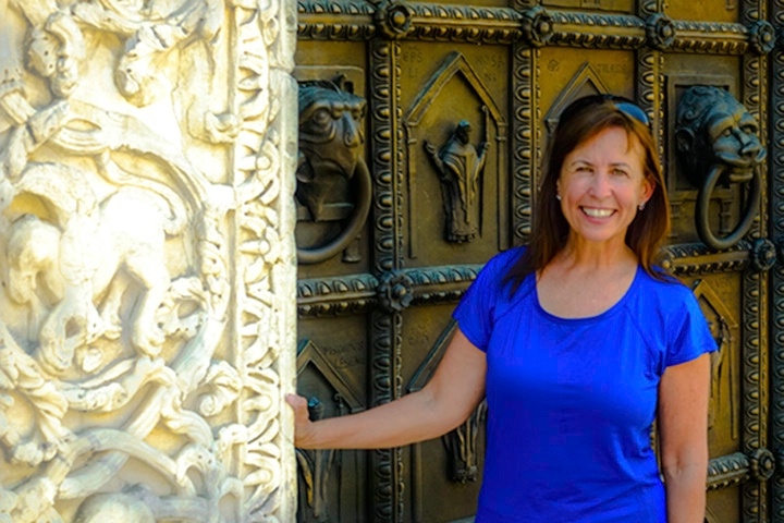 Me in front of the church door in Benevento