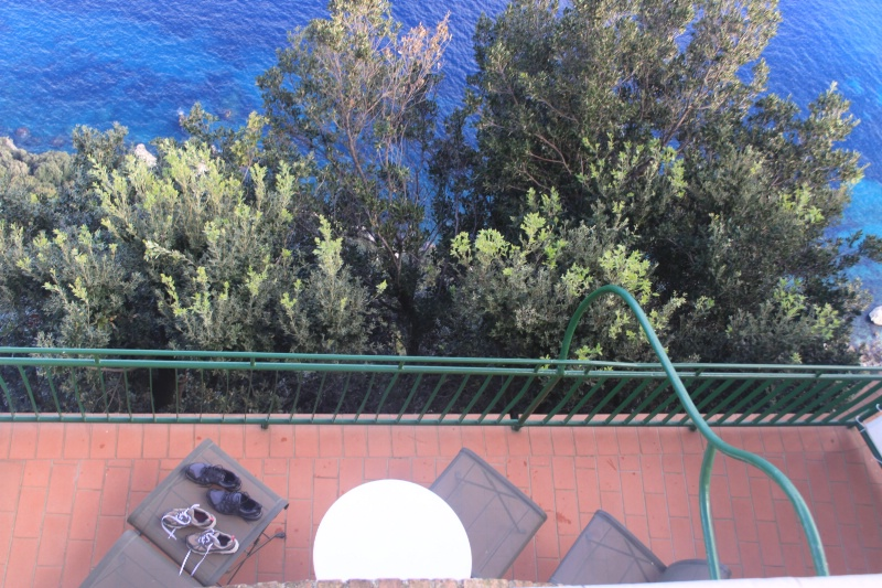 Looking down at our patio
