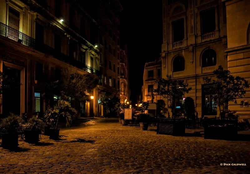 Courtyard in Old Havana, Cuba at night