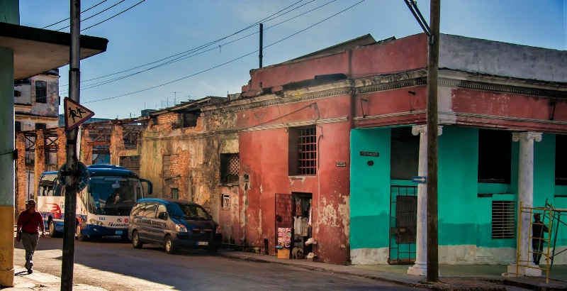 Neighborhood scene in Old Havana, Cuba