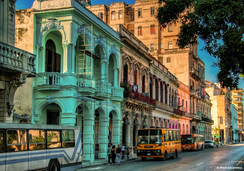 Downtown Havana with the colorful buildings