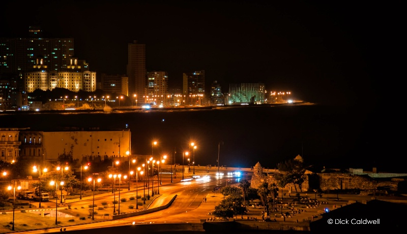 Morro Castle at night Havana in the background