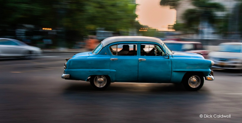 Moving cars in downtown Havana, Cuba