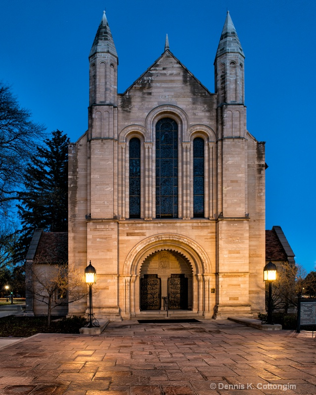 Outside Shove Chapel at dusk