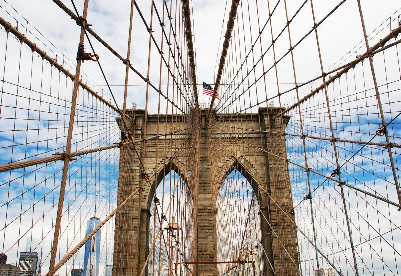 American Flag at the Bridge