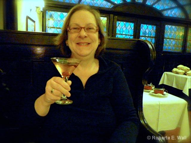 Joan tasting cocktail