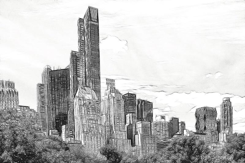 B&W Artistic Horiz NYC Skyline