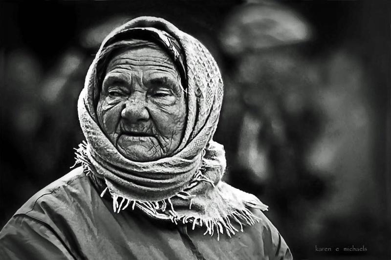 woman wearing babushka