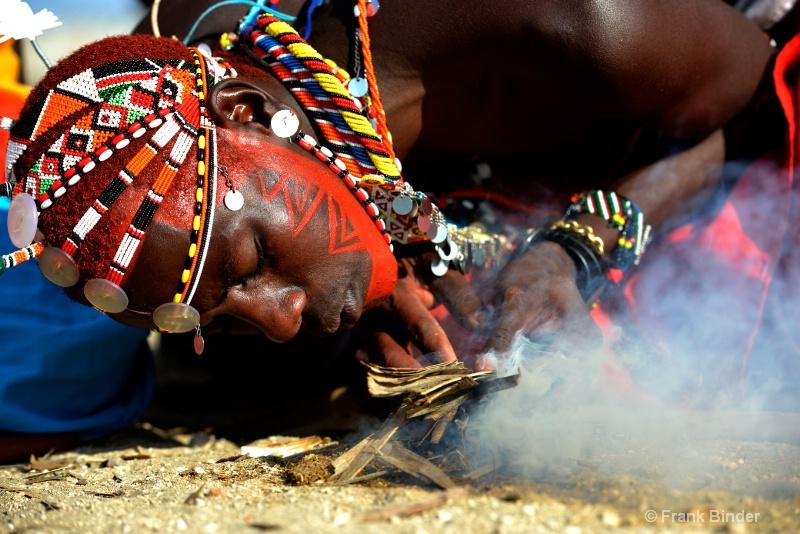 Making Fire in a Maasai village