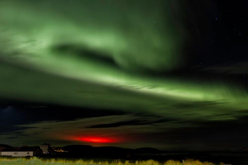 Aurora Over Volcanic Glow
