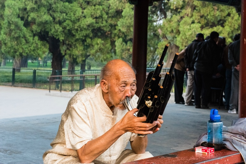 Lone Musician Playing Chinese Instrument