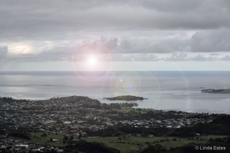 Setting Sun on Nu'uanu Pali Lookout