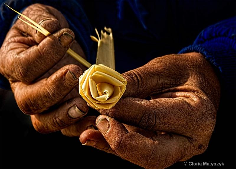 Hands - Contrast between hands and flower he made