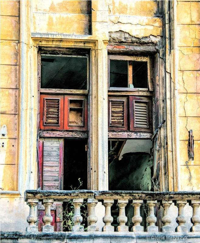 Havana, Cuba - windows in an abandoned building