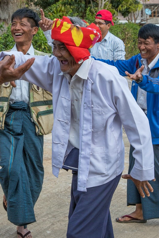 Village elder dancing at the Myin Ma Hue Village