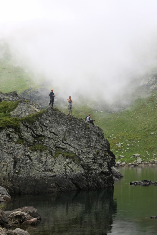 Hikers Under Fog