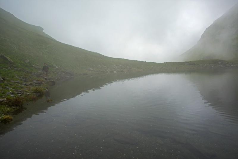 Lake, Fog & Hiker