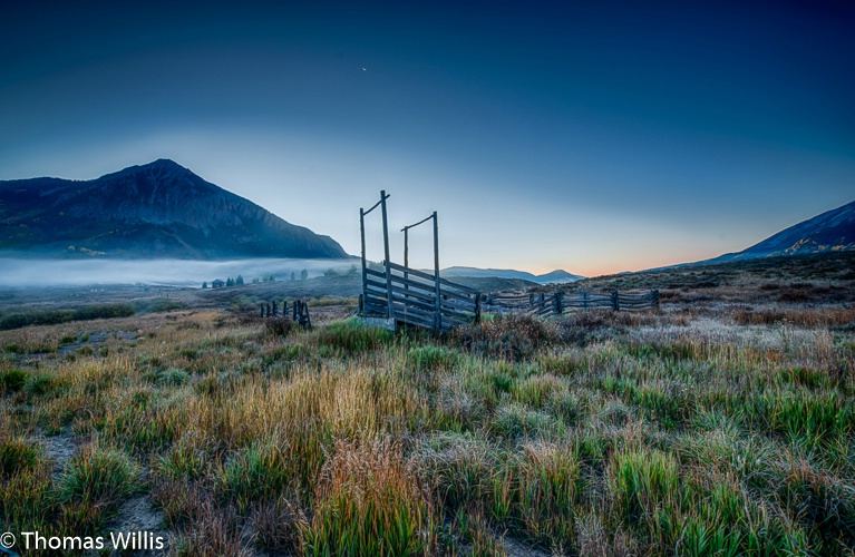 Corral at dawn in Crested Butte,Co.