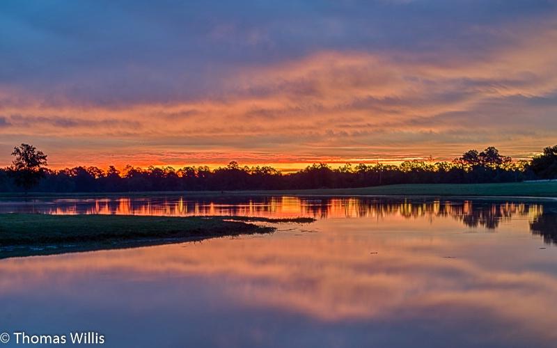 East Texas farm pond sunrise