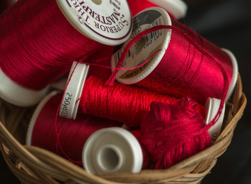 Spools of red thread