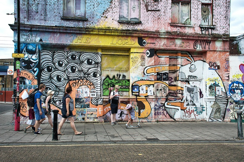 Hackney Wick Graffiti and Pedestrians