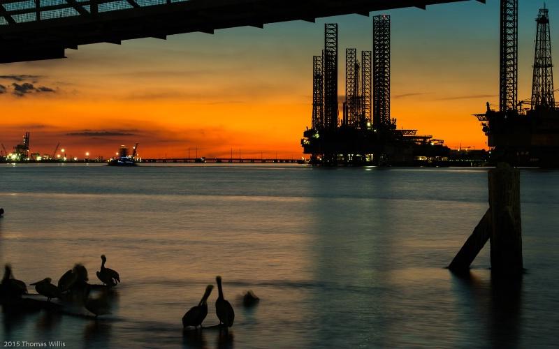 Port of Galveston, twilight.