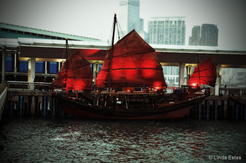 Red-Sailed Junk in Victoria Harbour