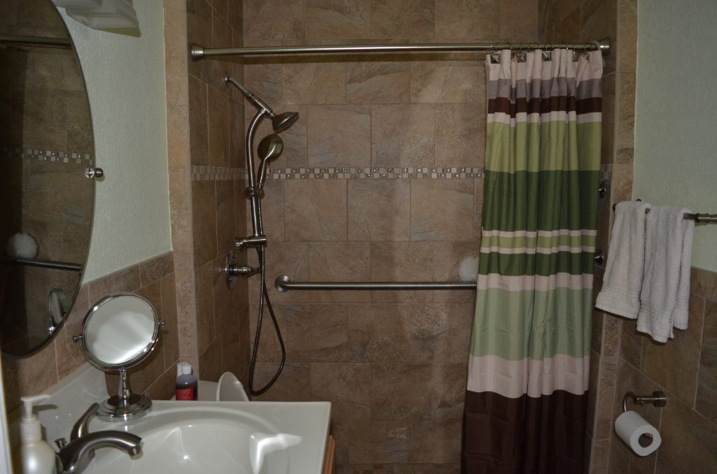 LOOKING INTO TOTALLY REMODELED BATHROOM