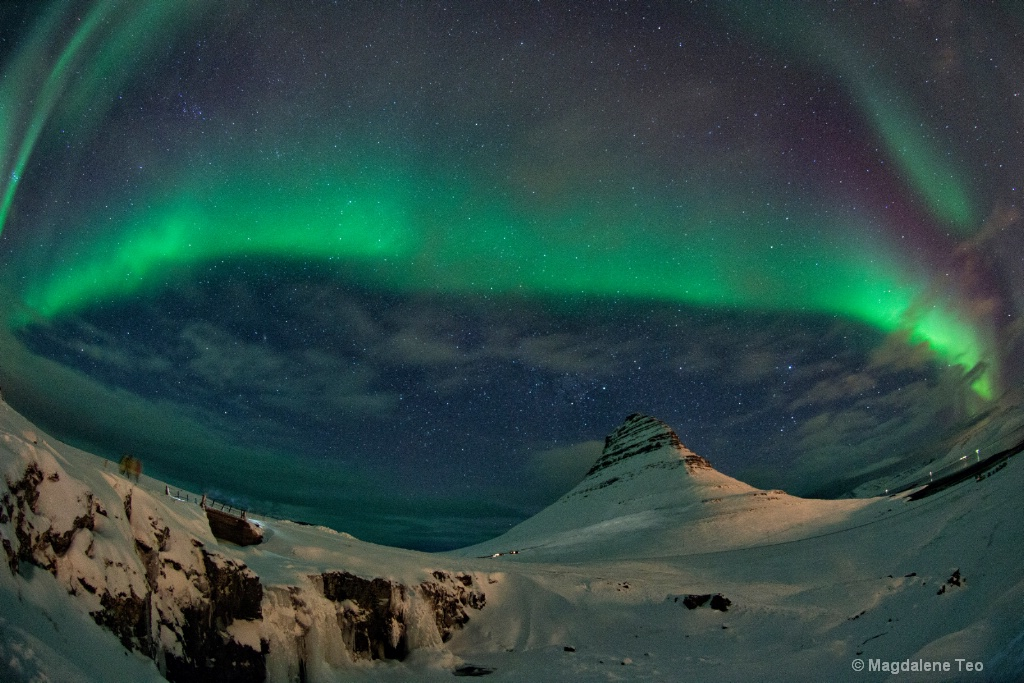 Auroras over Kirkjufell Mountain
