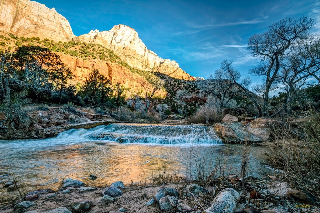 As the sun rises in Zion Canyon