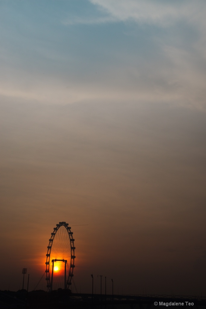 Sunrise over Singapore Flyer