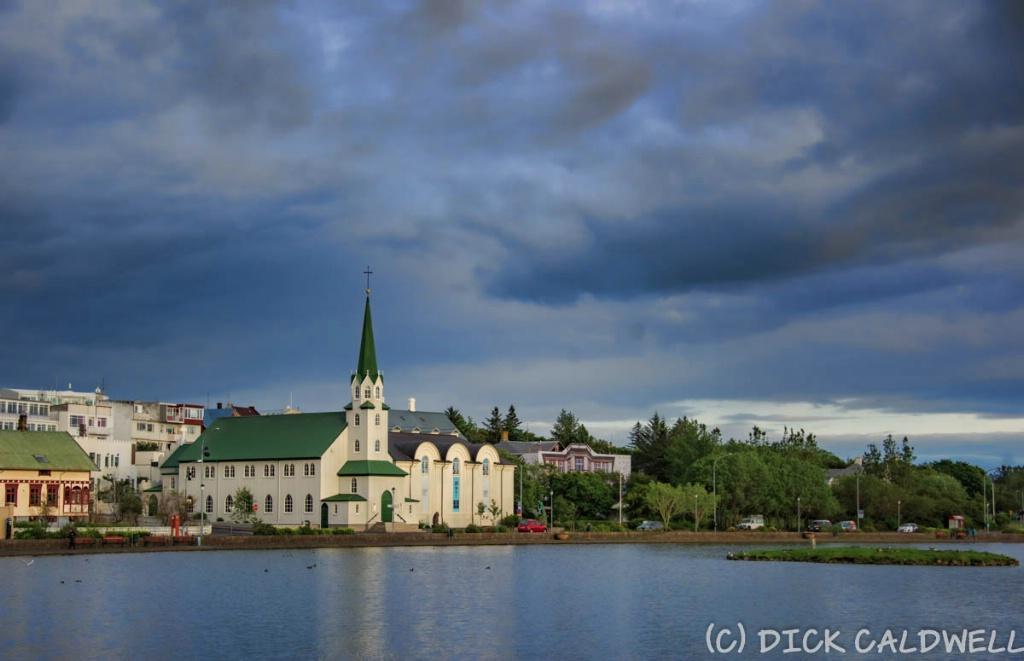 Approximately 10 PM with dark skies in Reykjavik