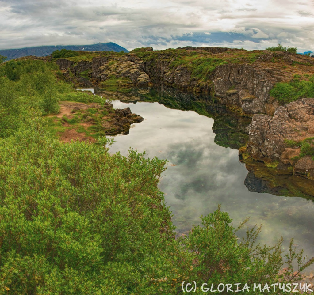 The waterfall at the area between tectonic plates