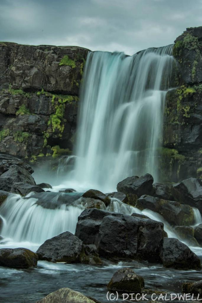 Thingvellir waterfall- top is American plate