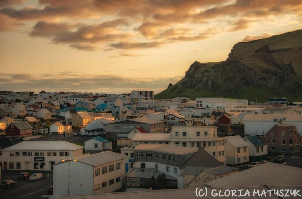 Sunset over the city  Vestmannaeyjar